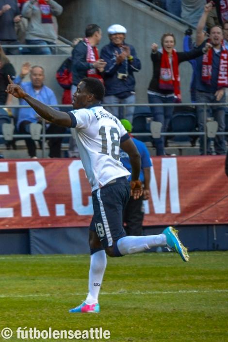 Eddie JOHNSON  de los Seattle Sounders anotó el gol decisivo en la victoria de 2-0 sobre México que clasificó a Estados Unidos al mundial de Brasil 2014 | Foto: Archivo / Justo HERNÁNDEZ